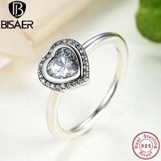 Sparkling Love Heart Wedding Rings Genuine 925 Silver finger Ring Women Classic Rings For Women Sterling Silver Jewelry GO7135