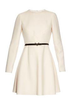 VALENTINO Long-Sleeved Wool And Silk-Blend Crepe Dress. #valentino #cloth #dress