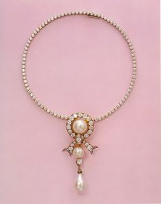 "A diamond and pearl necklace that belonged to Empress Marie Feodorovna of Russia.The necklace was later signed by Cartier.This was sold by Grand Duchess Xenia Alexandrovna Romanova of Russia to Lady Lydia,Lady Deterding (born Lydia Pavlovna Koudoyarova Лидия Павловна Кордояров).       ""AL"""
