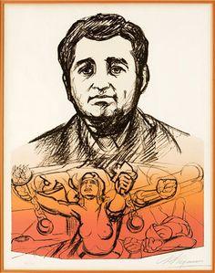 "Image: David Alfaro Siqueiros, lithograph, ""Heroic Voice"", ca. 1972. Image courtesy of MoLAA and BANGSTYLE."