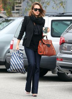 wide leg jeans and blazer