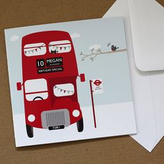 Personalised London Bus Birthday Card by designedbywink on Etsy, £4.00