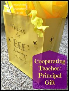 """Click through to see what cute gift goes INSIDE this gift bag!   ---- If you are a student teacher needing a gift idea---this would be great to give your cooperating principal or teacher!  Also a good gift for dance coaches, gymnastics coach, piano teacher, and more.  """"Thanks for BEE-lieving in me"""""""