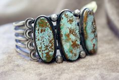 Beautifully Matrixed 3 Stone Turquoise and by MillersIndianVillage, $895.00