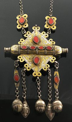 Antique Turkoman silver necklace with gold wash and hand-cut carnelian stones. | ca late 19th to early 20th century.