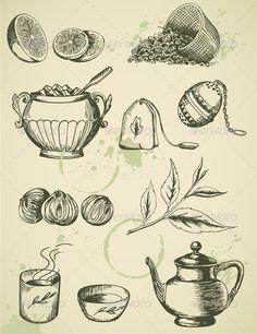 Vintage Tea beverage, blot, branch, breakfast, citrus, crockery, cup, dish, drawing, drink, green, hot, leaf, lemon, old, retro, set, sieve, sketch, sugar, tableware, tea, tea bag, teapot, vector, vintage, Vintage Tea