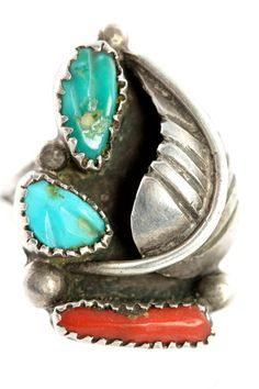 Ring Vintage Sterling Silver Turquoise & Red