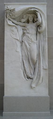 """Daniel Chester French's """"Mourning Victory,"""" as it is displayed in the American Wing of the Metropolitan Museum of Art in New York City. Audrey Munson posed for the statue, that is a copy of the Melvin Brothers Memorial."""