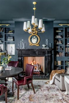 At Home Stuff- At Home Stuff Inside Rachel Parcell's cozy home library designed by Alice Lane Interior Design. Photo by Lindsay Salazar. Shop the look - Cozy Home Library, Home Library Design, Home Interior Design, House Design, Color Interior, Traditional Interior, Traditional House, Traditional Kitchens, Traditional Design