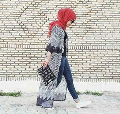 long chiffon cardigan hijab sporty