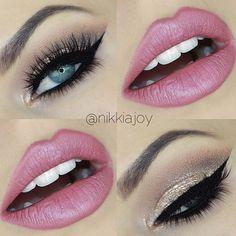 Pink and smokey eye shadow... Beautiful