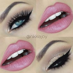 Pink and smokey eye shadow... Beautiful