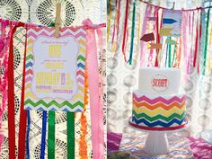 Love the Rainbow Chevron cake and invitations!