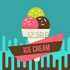 Retro ice cream poster. Vector illustration of vintage ice cream sign. photo