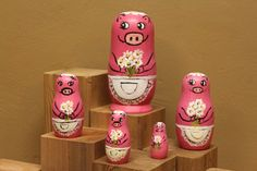 Pink Pig Nesting Doll  set with aprons and flower bouquets