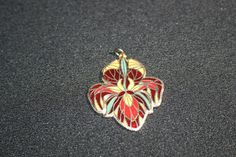 Vintage Enamel Cloisonné Iris Necklace Jewelry Pendant Costume Jewelry by KattsCurioCabinet on Etsy