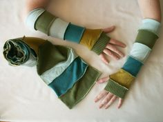 Arm Warmers Gloves Mittens Fingerless Upcycled Woman's Clothing Fashion Eco Friendly Funky Style Winter Fashion Upcycled Clothing
