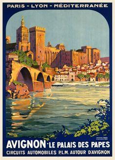 PLM - Avignon - Le palais des Papes - 1922 - illustration de Roger Broders - France