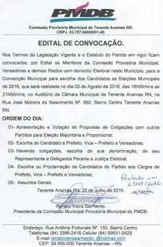 RN POLITICA EM DIA: PMDB DE TENENTE ANANIAS FAZ CONVENÇÃO DIA 03 DE AG...