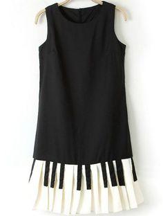 Vestido gasa llaves sin manga-negro 16.52