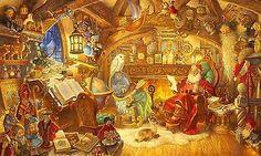 Scott Gustafson ST. NICHOLAS IN HIS STUDY Santa Claus, Christmas