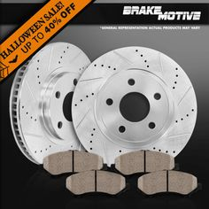 Fit 1998 Toyota Sienna Front PSport Drill Slot Brake Rotors+Ceramic Brake Pads