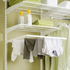 Elfa Clothes Airer - at STORE. wide fold away clothes airer to clip into your elfa utility room shelving solution. Drying Rack Laundry, Clothes Drying Racks, Clothes Dryer, Drying Cupboard, Elfa Shelving, Ikea Algot, Howard Storage, Shelving Solutions, Laundry Closet
