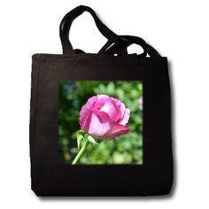 Garden Rose Bud Flowers Photography - Black Tote Bag Jumbo 20w X 15h X 5d