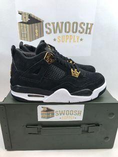 Nike Air Jordan Retro 4 Royalty Black Metallic Gold GS 408452-032 Size 4Y  Youth cd49f0596