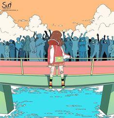 The Background of Anime Dark Art Illustrations, Illustration Art, Sad Anime, Anime Art, Aesthetic Art, Aesthetic Anime, Sun Projects, Sad Drawings, Vent Art