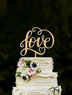 """Wooden engraved /""""Two hearts//one love/"""" bird cake topper wedding vow renewal"""