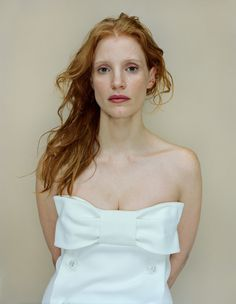 Jessica Chastain by Rineke Dijkstra for W magazine January 2013. Love that dress, love her face!!