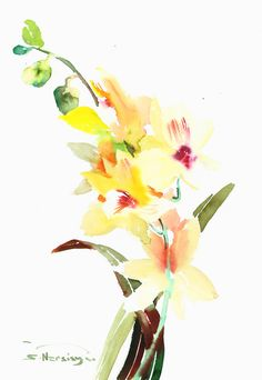 Lemon Yellow Orchids 12 x 17 in original by ORIGINALONLY on Etsy