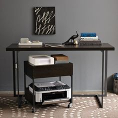 Painting of Printer Stand Ikea: A Smart Solution to Organize Your Printer Printer Stand Ikea, Printer Desk, Small Printer, Printer Storage, Office Printers, Printer Cart, Office Nook, Guest Room Office, Home Office Space