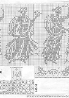 Cross stitch - fairies: Spindleberry fairy - Cicely Mary Barker (chart - part Cross Stitch Fairy, Cross Stitch Charts, Cross Stitch Embroidery, Cicely Mary Barker, Fillet Crochet, Elves And Fairies, Crochet Curtains, Decorative Borders, Flower Fairies