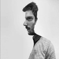 trippy. Both the Profile and front view of this man in one picture. Interesting.