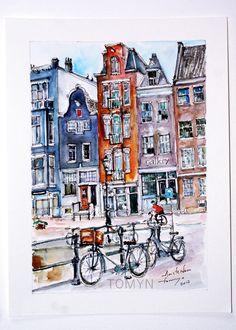 AMSTERDAM. Dutch Houses. Netherlands. Amsterdam paintings. Holland Art. Original watercolor.