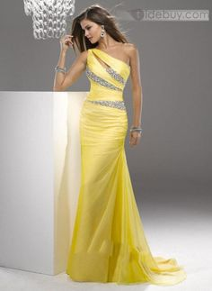 ワンショルダービーズののスイープトレインイブニングドレス