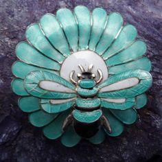 Margot de Taxco Bee & Flower Sterling Silver Enamel Mexican Pin
