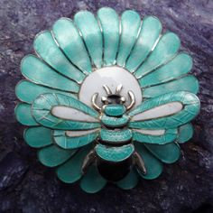 Margot de Taxco Bee & Flower Sterling Silver Enamel Brooch, Mexico