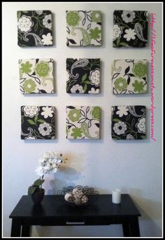 Easy Diy Wall Art (styrofoam/fabric/glue).  I have endless amounts of fabric, may as well put it to use.