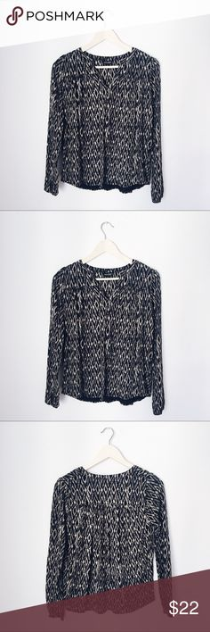 Lucky brand long sleeve tribal print boho top 60% cotton, 40% modal, includes extra button. Like new condition. Lucky Brand Tops Blouses
