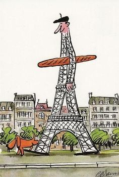 Eiffel tower & A Baguette - Paris - France From Paris With Love, I Love Paris, Illustration Parisienne, Cute Illustration, Paris 3, Paris Mode, Foto Paris, My Little Paris, Illustrations