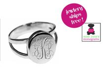 Monogrammed Sterling - Ring - Oval+ Engraved Ring with Split Band