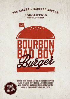 Graphic Design Burger Poster for Revolution Vodka Bar by www.diagramdesign.co.uk