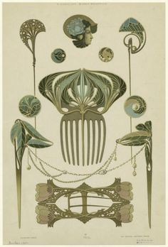 nouveau-deco:  Bijoux modernes (c. 1900) from a series of Art Nouveau designs by Rene Beauclair