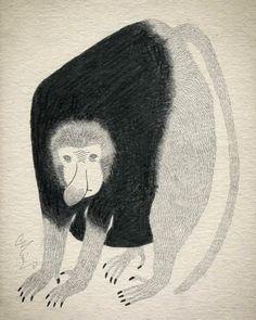 11月8日(日)まで吉祥寺Bellbetで開催中の個人展『モノクロームの庭』。 出展作品の「天狗猿が自慢したいのは」です。 個性的で魅力的な彼の ぜひ生の絵を観にいらしてください。  http://miw.cc/news.html   #art #moritamiw #森田miw #exibision #展覧会