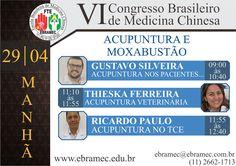 VI Congresso Brasileiro de Medicina Chinesa Dias: 28, 29 e 30 de Abril  Toda semana exibiremos uma lista de palestrantes confirmados até o momento!! Estes são das Palestras do Tema de Acupuntura e Moxabustão na parte da manhã no dia 29/04!!! Corra e garanta sua vaga!!!  Para outras informações e inscrições, ligue 0xx11 2662-1713 ou pelo whatsapp: 0xx11 97504-9170 ou através do e-mail: ebramec@ebramec.com.br.