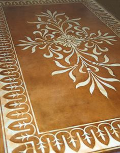 Stenciled carpet on concrete floor! I foresee my next project! Stenciled Concrete Floor, Polished Concrete Flooring, Painted Concrete Floors, Painting Concrete, Faux Painting, Stained Concrete, Decorative Concrete, Diy Concrete, Porch Flooring