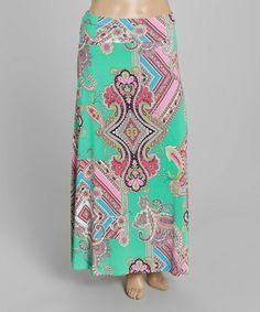 Look what I found on #zulily! Mint Geometric Diamond Maxi Skirt - Plus #zulilyfinds